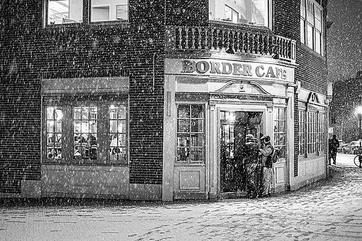 Toby McGuire - Snowy Harvard Square Night Border Cafe Black and White