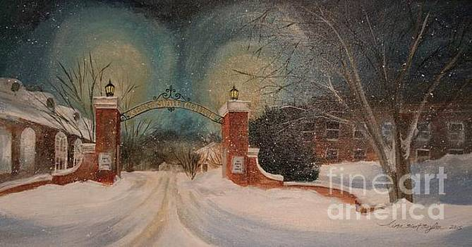 Snowy Night at Keene State College by Tina Siart Boylan