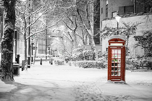 London Snow - Iconic Red Phone Box at Night by Super Mega Action Plus