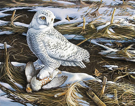 Snowy Owl and Hungarian Partridge by Larry Seiler