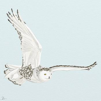 Snowy Owl in Flight by Shae Leighland-Pence