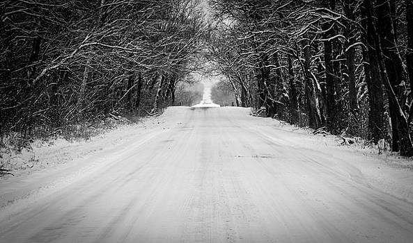 Snowy Road in Oklahoma by Nathan Hillis