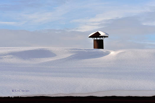 Snowy Roof with Stove Pipe by Kae Cheatham