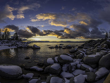 Snowy Sand Harbor Sunset by Martin Gollery