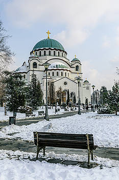 Snowy St. Sava Temple in Belgrade by Dejan Kostic