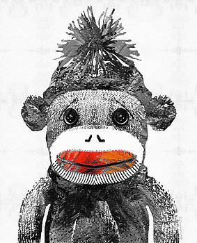 Sharon Cummings - Sock Monkey Art In Black White And Red - By Sharon Cummings