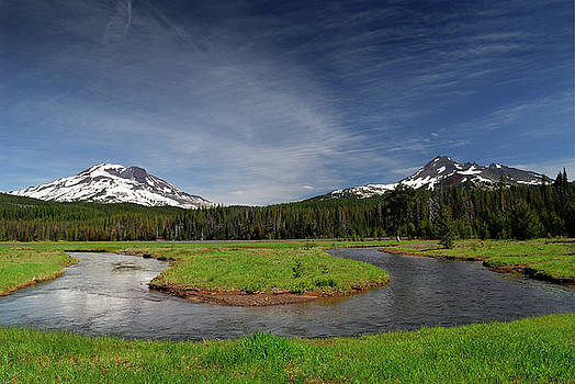 Reimar Gaertner - Soda Creek at Sparks Lake meadow with South Sister and Broken To