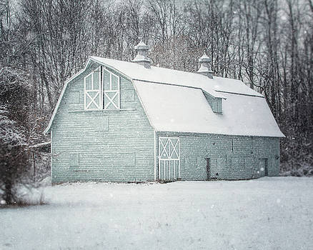 Lisa Russo - Soft Aqua Barn in the Snow
