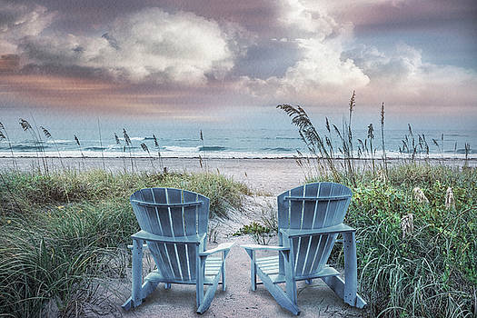 Debra and Dave Vanderlaan - Soft Light Blue Chairs at the Sea in Watercolor Textures