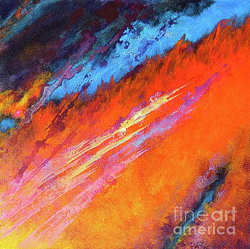 Solar Flare Up. Acrylic Abstract Painting on Canvas. by Robert Birkenes