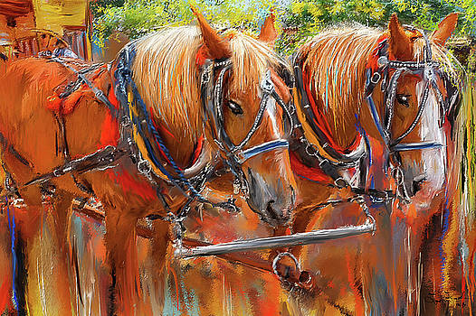 Solvang California Horse Drawn Wagon Art by Lourry Legarde