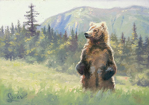 Something in the Air- Alaskan Brown Bear by Larry Seiler