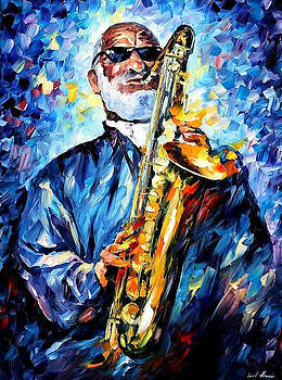 Sonny Rollins - PALETTE KNIFE Oil Painting On Canvas By Leonid Afremov by Leonid Afremov