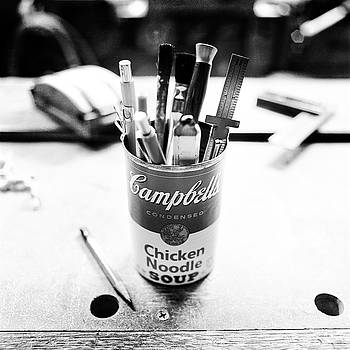 Soupcan Pencil Holder on Workbench in BW by YoPedro