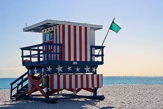 South Beach Lifeguard Station - Stars and Stripes by Chrystyne Novack