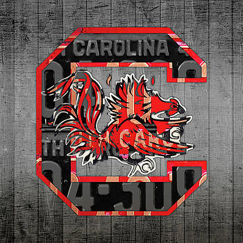 Design Turnpike - South Carolina Gamecocks Sport Team Vintage Logo License Plate Art