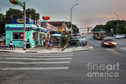 Herronstock Prints - South Congress Avenue is a favorite spot for sidewalk cafes offering a diverse menu from ice cream to Japanese cuisine
