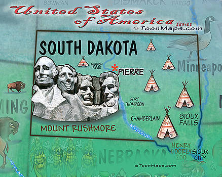 South Dakota Fun Map by Kevin Middleton