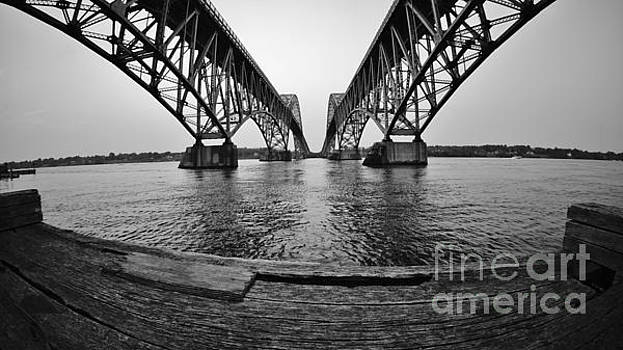 South Grand Island Bridge in Black and White by Tony Lee