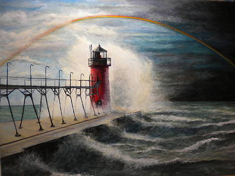 South Haven  MI Lighthouse in Four Seasons-Spring by Michael John Cavanagh