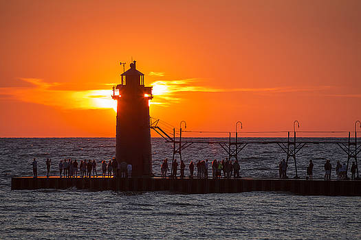 South Haven Michigan Sunset by Adam Romanowicz