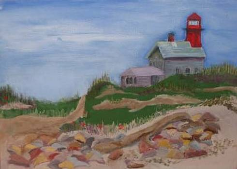 South Lighthouse Block Island Oil by Joan Wallace Reeves