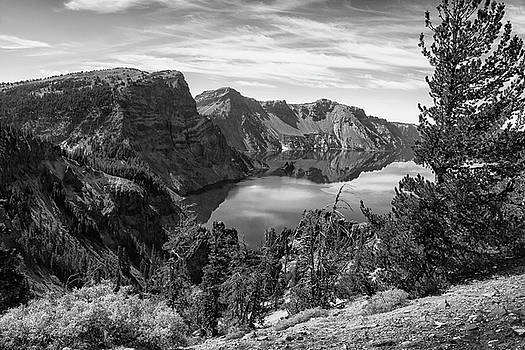 South Rim of Crater Lake B W by Frank Wilson