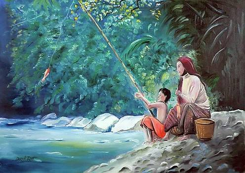 Derek Rutt - Southern Thai Boy Pole Fishing With His Mother