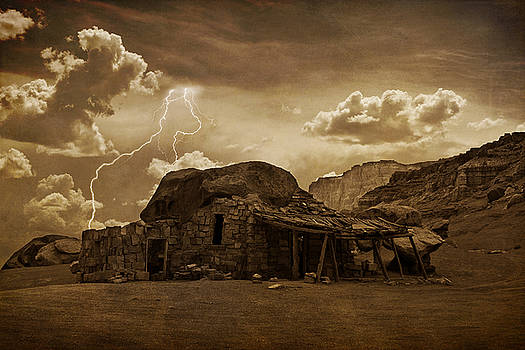 James BO  Insogna - Southwest Navajo Rock House and Lightning