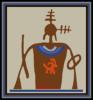 Southwest Shaman with Feathers by Vagabond Folk Art - Virginia Vivier