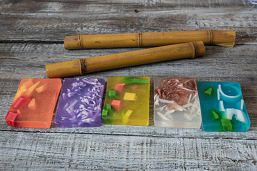 Spa concept. aromatic soaps and bamboo sticks  by Julian Popov