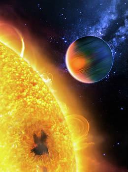 Space Image Extrasolar Planet yellow orange blue by Matthias Hauser