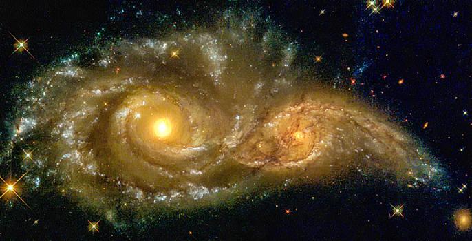 Space image spiral galaxy encounter by Matthias Hauser