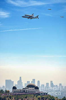 David Zanzinger - Space shuttle Endeavour, chase planes over the Griffith Observatory Skyline