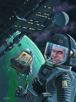 Martin Davey - Spaceman with Space Station orbiting Green Planet