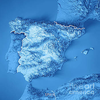 Spain Country 3D Render Topographic Map Blue Border by Frank Ramspott