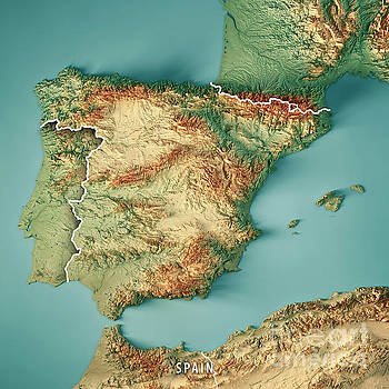 Spain Country 3D Render Topographic Map Border by Frank Ramspott