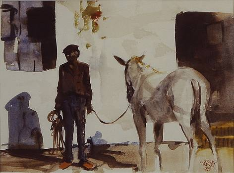 Spanish Man with Horse by Charles Hawes