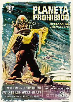 R Muirhead Art - Spanish version of Forbidden Planet in CinemaScope retro classic movie poster