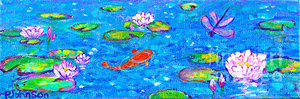Sparkling Koi Pond with Waterlilies by Peggy Johnson by Peggy Johnson