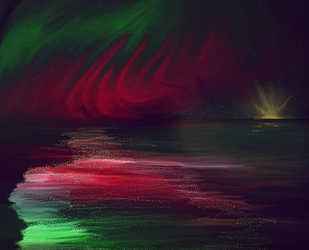 Sparkling Night of the Aurora Borealis by Angela Stanton