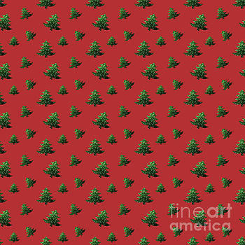 Sparkly Christmas tree green sparkles pattern on red by PLdesign