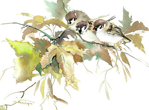 Sparrows and Fall Tree by Suren Nersisyan