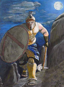 Spartan Warrior one of the three hundred at night by Eric Kempson