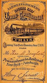 Peter Ogden - Special Fast Jarrett and Palmers Transconinental Pennsylvania Railroad Pass 1876