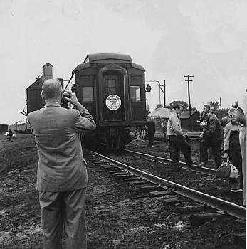 Chicago and North Western Historical Society - Spectators Gather Around Private Railroad Car - 1954