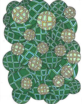 Spheres Cluster Green by Roberta Dunn