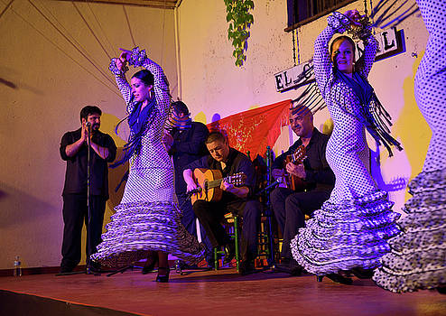 Reimar Gaertner - Spinning female Flamenco dancers on stage at night in an outdoor
