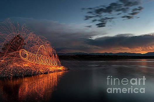 Spinning Sparks at Pueblo Reservoir by Tibor Vari