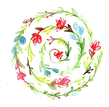 Spiral Botanical Mandala by Louise Gale